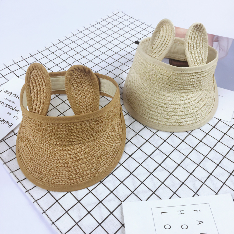 2017 Summer Empty Top Hats Kids Wide Brim Straw Beach Sunbonnet Visor Straw Hat Sunscreen Folding Sun Hats Caps