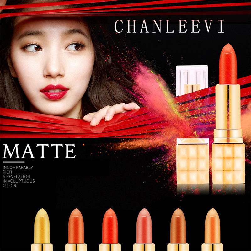 CHANLEEVI 6 Color Gold-plated Lipstick Does Not Fade Pumpkin Fish Ji Sexy Shiny Metallic Gloss Fashion Beauty Long Lasting Soft