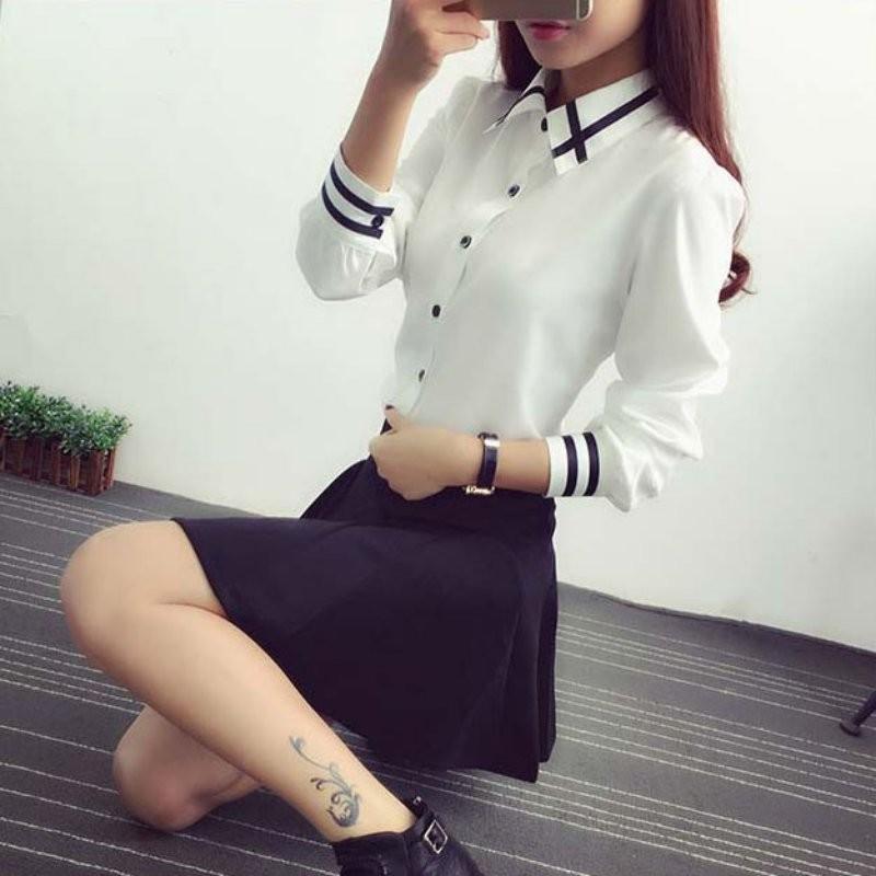 HTB15jtINXXXXXXQXFXXq6xXFXXXL - Fashion Ladies Office Shirt White Blue Tops Formal