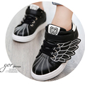 2016 New Baby Shoes Boys Girls Sneakers Kids PU Leather Shoes Kids Shell-toe Fashion Wings Casual Shoe Children Hip-hop Sneakers