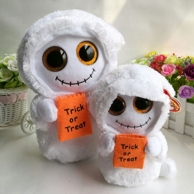 24fdd3e3563 Mist white ghost halloween gift TY BEANIE BOOS 2PC 25CM and 15cm BIG EYES  Plush Toys