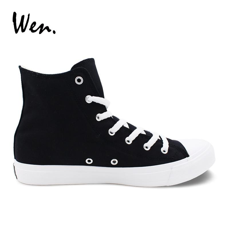 21fffd26e754 Details of Wen Men Women Casual Shoes Solid Color Black Canvas Sneakers  High Top Flat Shoe Lace Up Footwear click image.