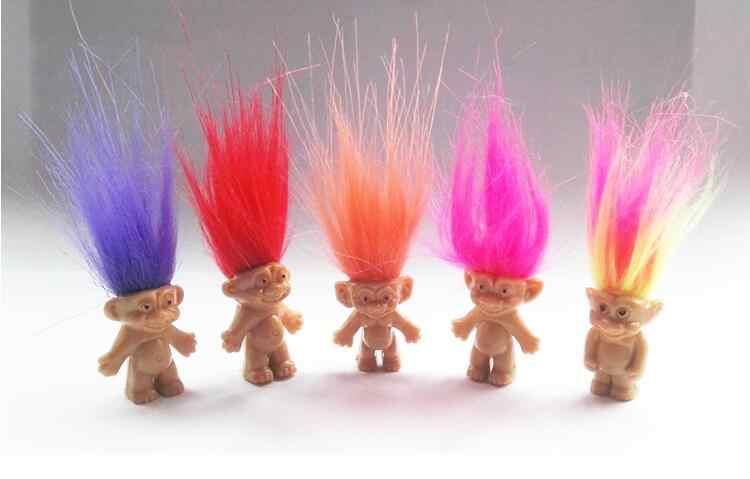 5ピース/ロットカラフルな髪トロール人形ファミリーメンバーパパミイラ赤ちゃん男の子女の子leprocaunsダムトロールおもちゃギフト幸せな愛家族