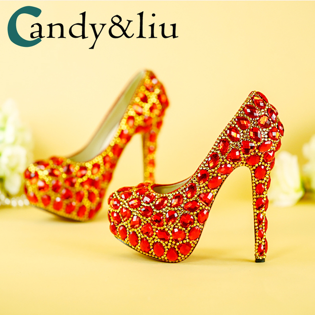Women Shoes Wedding Dress Bridal Shoes Big Red Crystal High Heels  Rhinestone Heels Golden Striate Collaterals Glittering Party 02cae67c917c