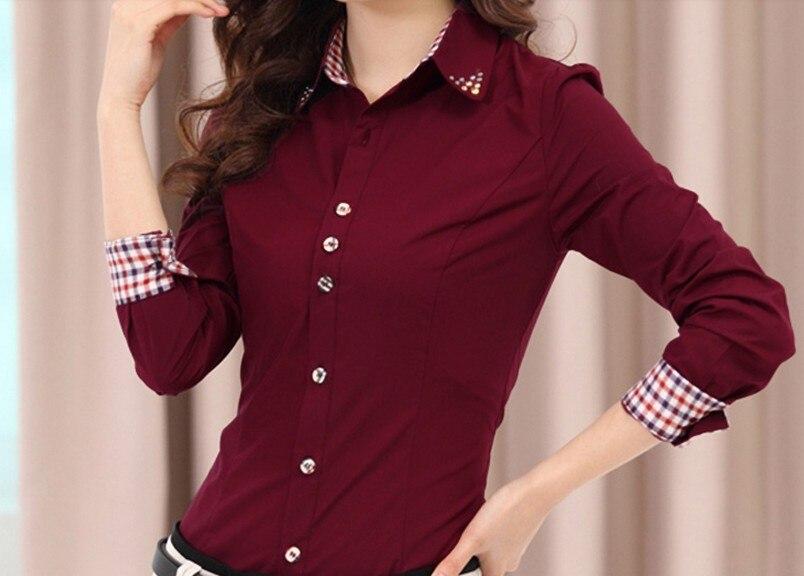 Frete grátis novo 2016 feminino formal outono profissional de manga longa plus size chiffon blusa camisas básico camisa superior