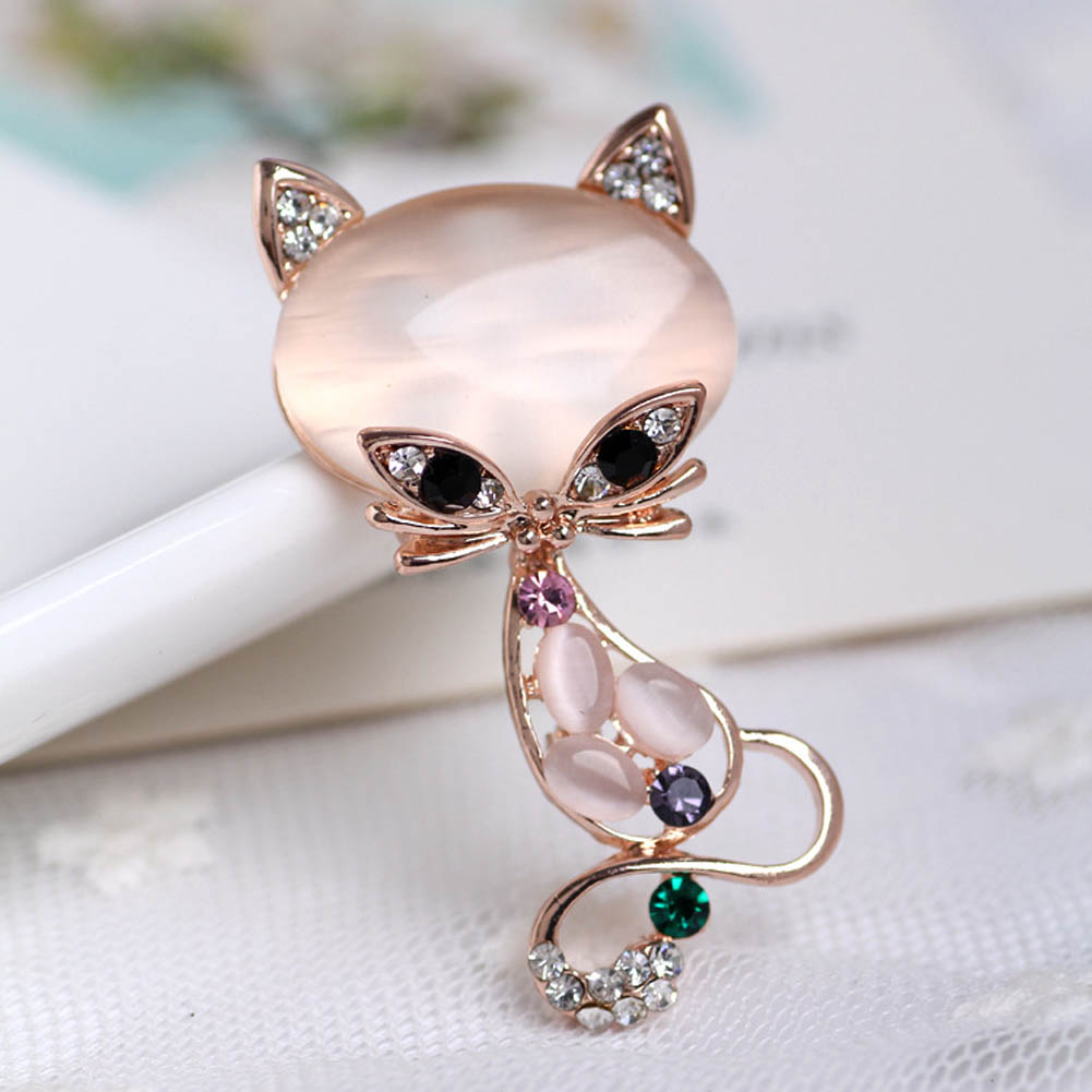New Fashion Hot Sale Gold Color Filled Multicolor Opal Stone Fox Brooches Womens Fashion Cute Animal Pin Brooch Jewelry