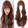 2016 Fashion Women Female Fake Hair Wig Korea Hot Sale Style 70cm Long Curly Wavy Heat Resistant Synthetic Hair Black Brown