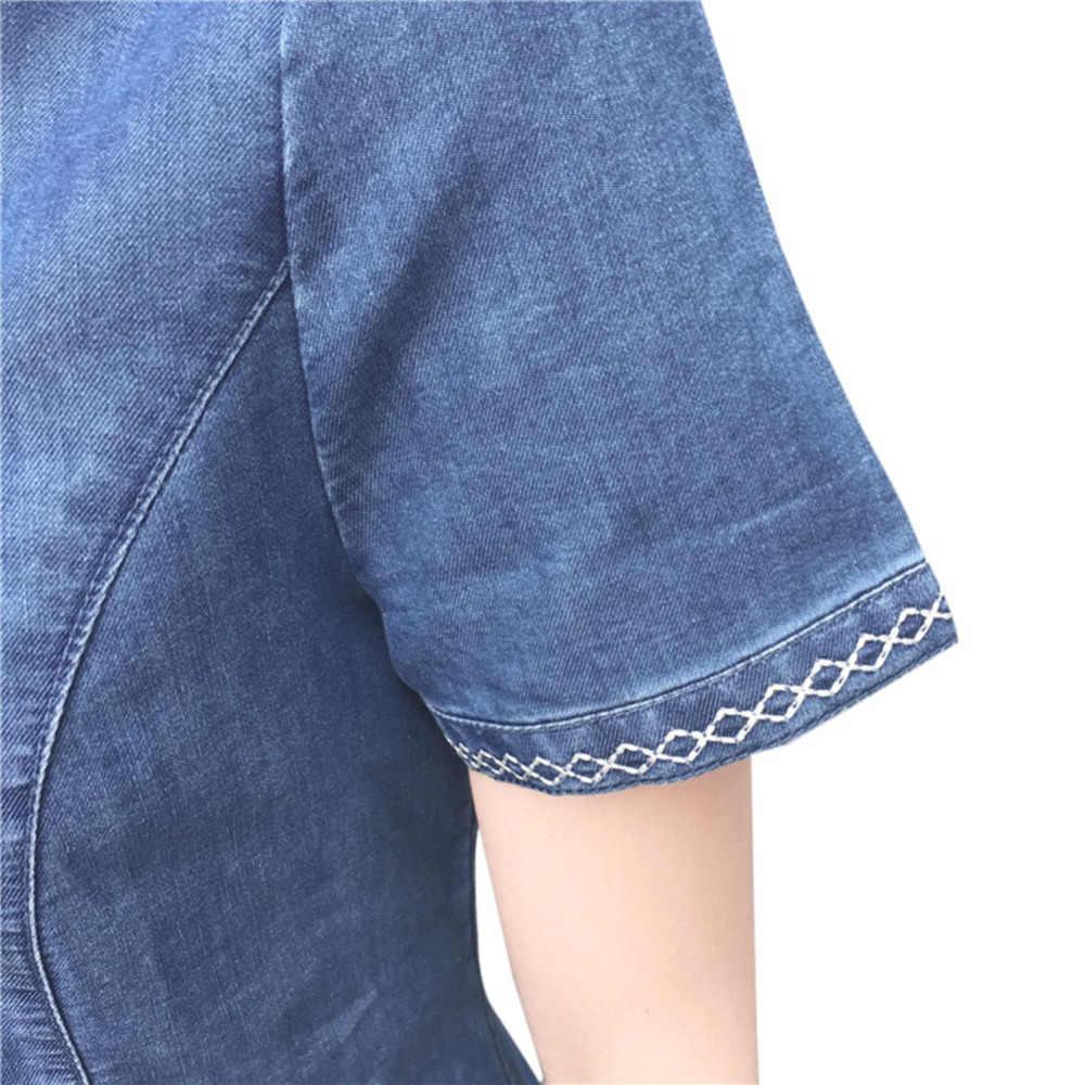 Летнее женское джинсовое свободное джинсовое мини-платье с коротким рукавом, сексуальное повседневное вечернее платье, платья-футболки