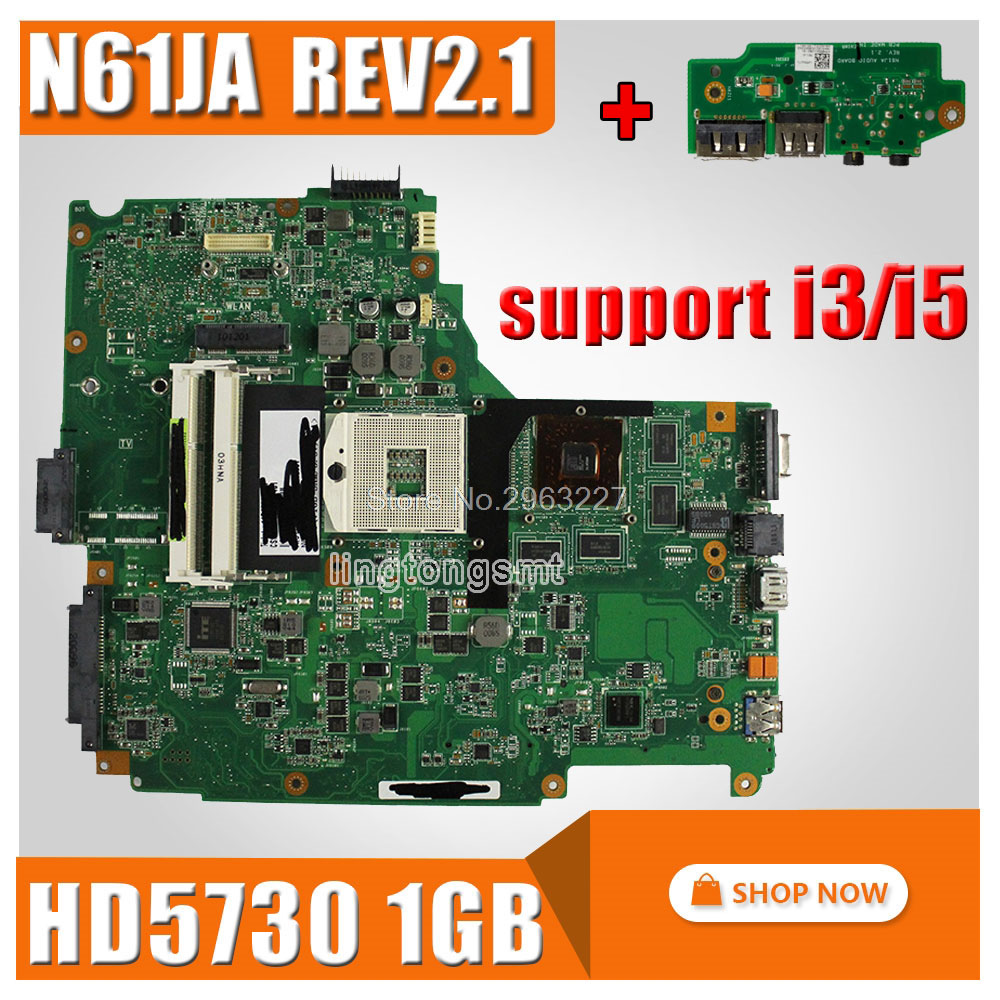 send board+For Asus N61JA Laptop Motherboard REV:2.1 N61JA Mainboard Support i3/i5 cpu HD5730 1GB DDR3 VRAM 100% Tested стоимость