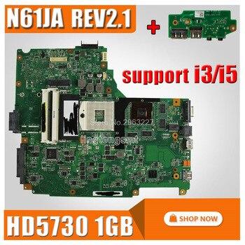 send board+For Asus N61JA Laptop Motherboard REV:2.1 N61JA Mainboard Support i3/i5 cpu HD5730 1GB DDR3 VRAM 100% Tested
