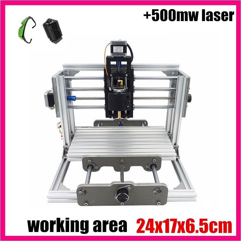 GRBL control Diy 2417 mini CNC machine,working area 24x17x6.5cm,Wood Router,3 Axis Pcb Milling machine,cnc router+500mw laser mini cnc router with 500mw laser head pcb milling machine work area 240 170 65mm