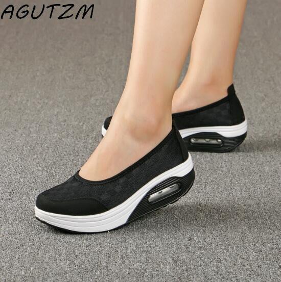 AGUTZM Casual shoes women 2018 hot Comfortable breathable mesh platform women shoes Shook His Slimming Shoes