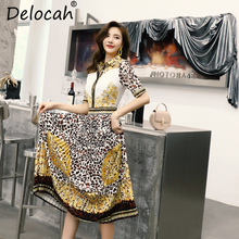 Delocah Women Spring Summer Dress Runway Fashion Vintage Hollow Out Leopard Print Pleated Elegant Party Long Collect Waist