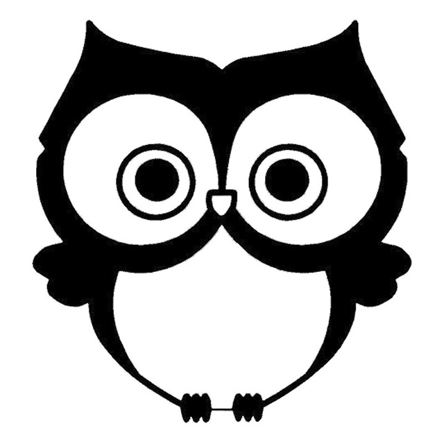13*13.6CM Cartoon Vinyl Car Stickers Cute Owl Decorative ... Baby Owl Black And White
