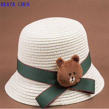 2018 Summer New Kids Solid Straw Bucket Hat With Cute Bear Curling Brim Lovely Hats Beach Sun Protection Caps For Boys And Girls