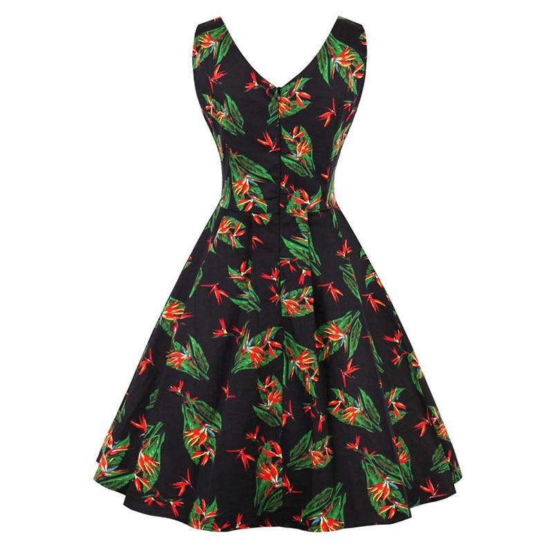 Kostlich 2018 Floral Print Vintage Dress Women V Neck Sexy Hepburn 50s  Style Autumn Dress Big Swing Party Dresses Plus Size 4XL-in Dresses from  Women s ... 937fe7ba3403