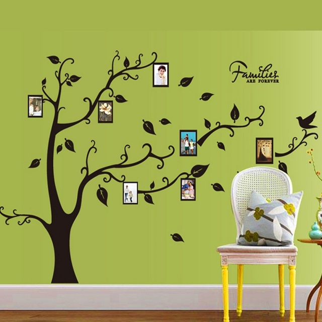 70*120cm Black 3D DIY Photo Tree PVC Wall Decals/Adhesive Family ...