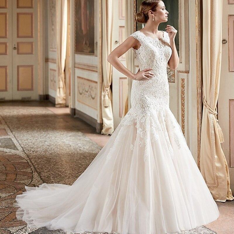 2017 font b Wedding b font font b Dresses b font Long With Full Lace AppliquesButton