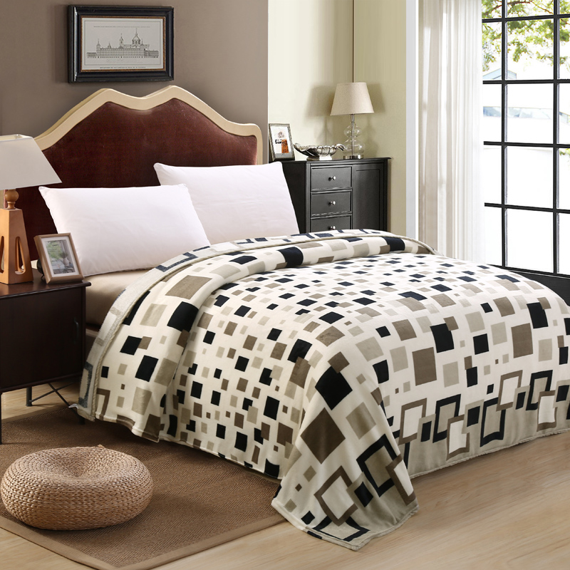 Brand Super cheap plaid bedspreads blanket for beds plaid fleece throw blanket winter decorations for home
