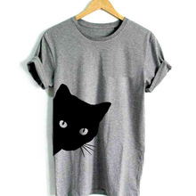 cat looking out side Print Women tshirt Cotton Casual Funny t shirt For Lady Girl Top