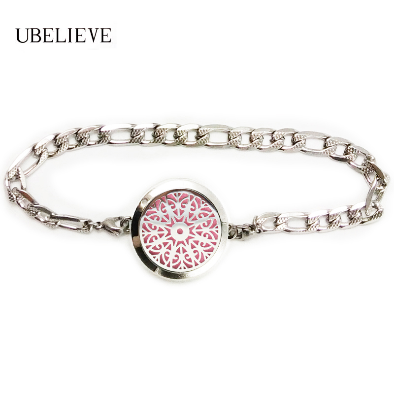 Fashion Essential Oil Diffuser Locket Bracelet 316L Stainless Steel Aromatherapy Perfume Locket Bracelet Send Chain Felt Pads