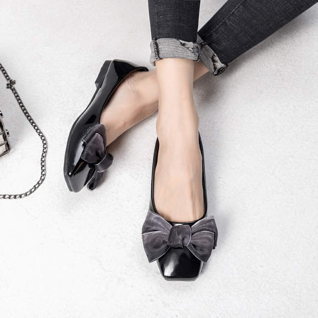 2ad347ab0 New Patent Leather Flat Women Ballet Flats Shoes Women Plus Size 41 Black  Square Toe Bowtie Shoes Black For Lady-in Women's Flats from Shoes on ...
