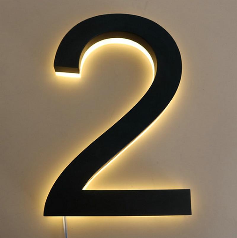 Waterproof Light Sign Stainless Steel 3D Led Illumilous Light House Numbers Address Numbers Led Door Plate