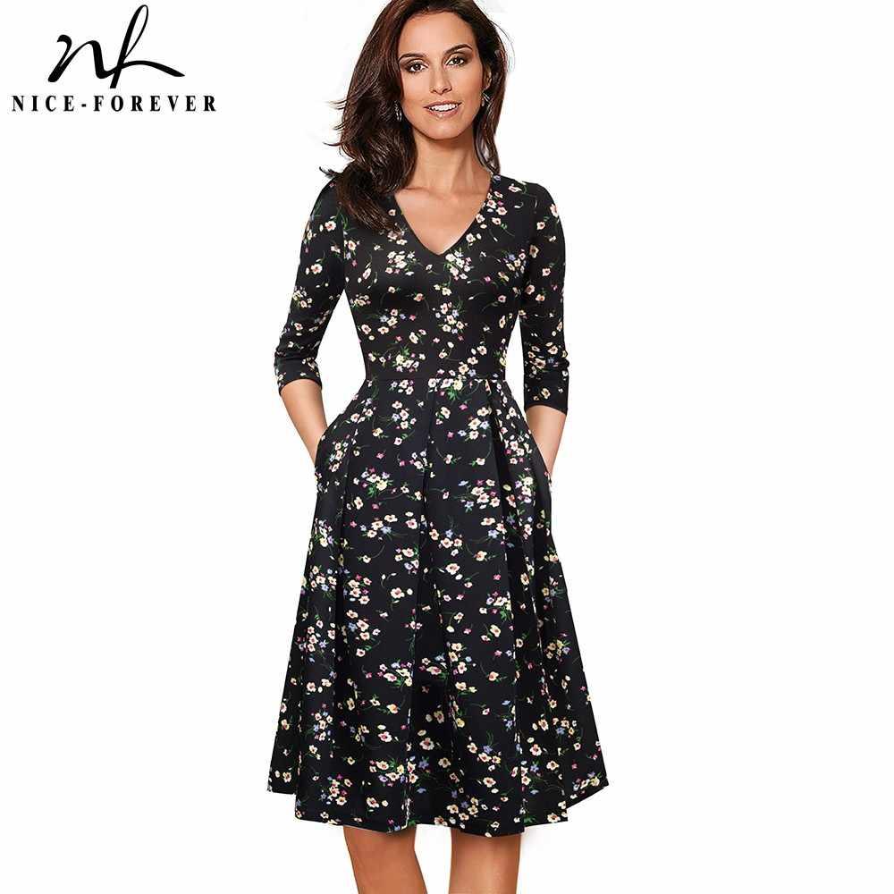 Nice-forever Винтаж однотонные Цвет V образный вырез платье пинап С Карманами Платье vestidos платье трапециевидной формы Бизнес вечерние женские, с расклешенным свободное женское платье A126
