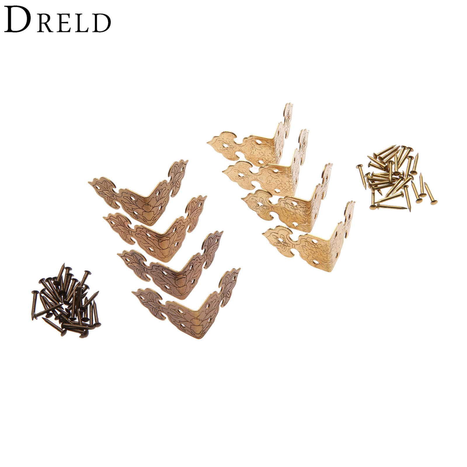 DRELD 4Pcs Brass Wood Box Feet Leg Corner Protector Chinese Furniture Hardware Metal Crafts Decorative Bracket for Cabinet Trunk