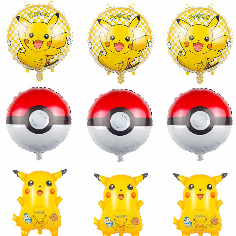 9pcs/Pack Globos pokemon Foil Balloons Inflatable Pikachu Aluminum Balloon kids