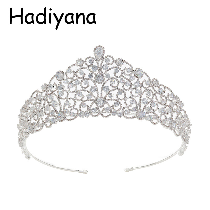 Hadiyana Hot Wedding Bride Crown Elegant Cubic Zirconia Headwear Headdress Silver Bridal Jewelry Crown Party Jewelry HG6071 fascinator fashion bride headdress feathers dance show headdress covered the face veil party hat headdress hairpin headwear