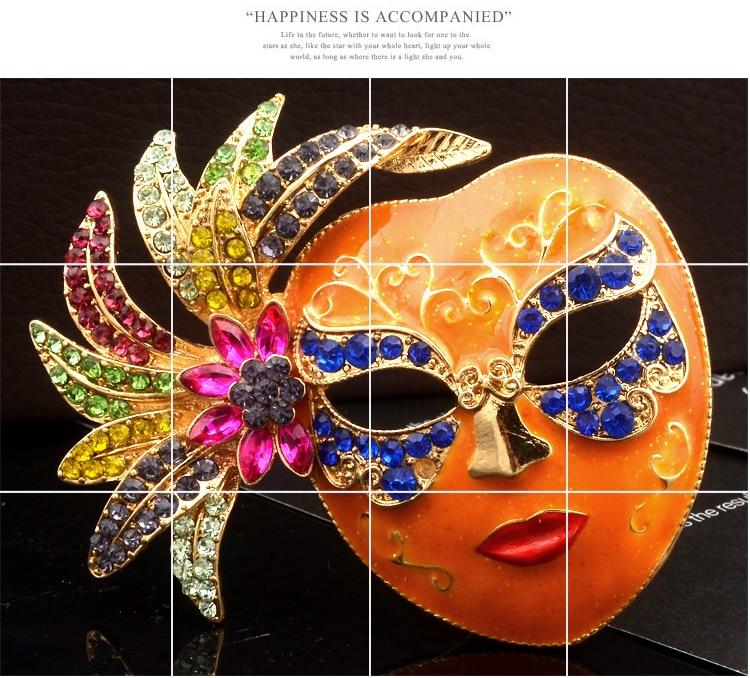New Rhinestones Glamour Women Gold Mask Brooch