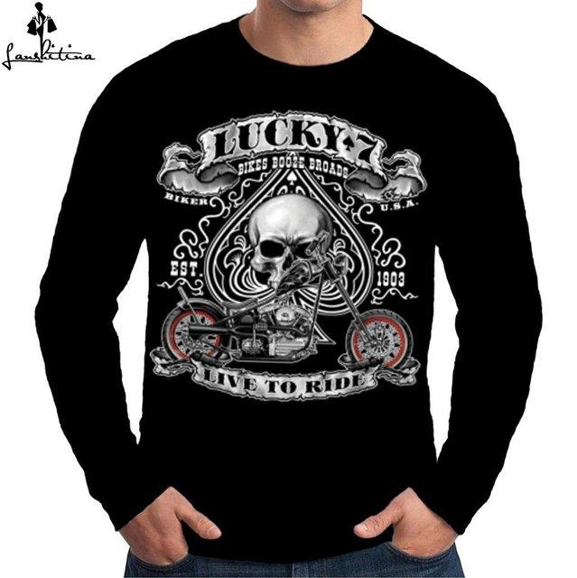 c82cd9ba86 Fashion Men T-shirt Casual Shirt LANSHITINA Speed Shop Premium Mens Long  Sleeve T Shirt Lucky 7 Live To Ride Biker