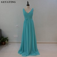 Mint Green V Neck Sweetheart Halter Bridesmaid Dresses Long Summer Beach Wedding Party Gowns 2018 Cheap