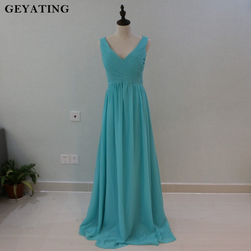 Mint Green V Neck Sweetheart Halter Bridesmaid Dresses Long Summer Beach Wedding Party Gowns 2018 Cheap