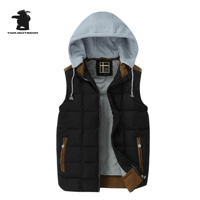 2016 New men's Vest Autumn And Winter Brand Fashion Many Color Removable Cap Thick Casual Vest For Men Pull Homme D8E8206