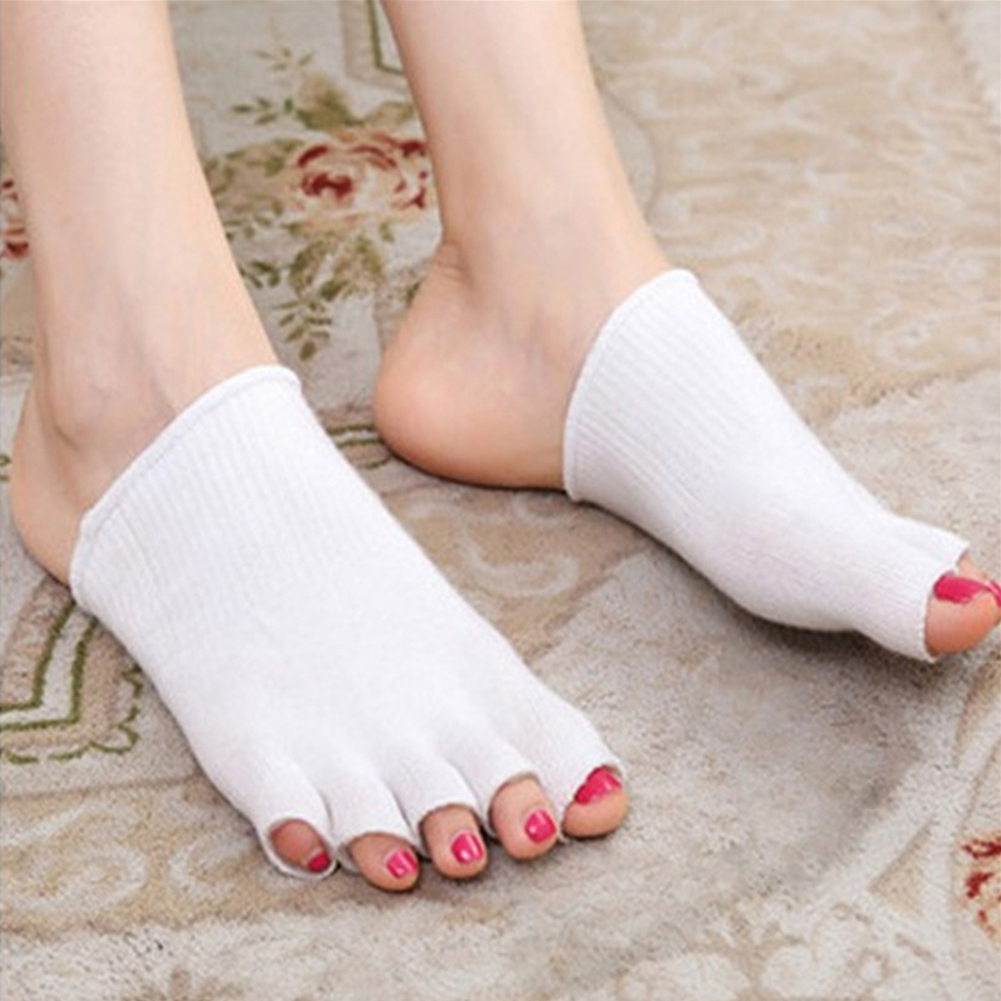 1 Pair Recovery Comfy Compression Separator Cracked Skin Toe Socks Soft Open Feet Cushion Protector Pain Relief Moisturizing Gel