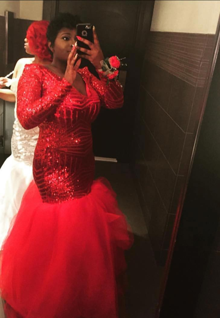 Sexy Plus Size Red African Long Sleeve Mermaid Prom Evening Dresses Gown 2019 Long Party Gala Dress