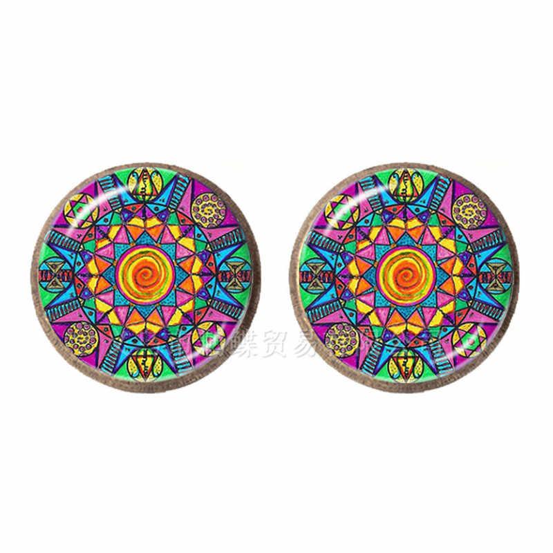 Nuevo Mandala cristal Domo pendientes OM símbolo budista Zen Retro pendiente moda DIY joyería para mujeres India Bijoux