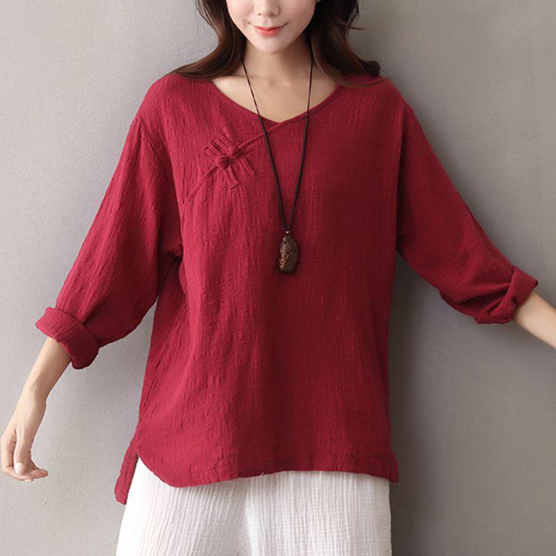 Nuevo estilo chino de la manga larga Camiseta mujer étnica tradicional  china Rana botón V Masajeadores de cuello sólido camiseta mujeres e81c4b764234