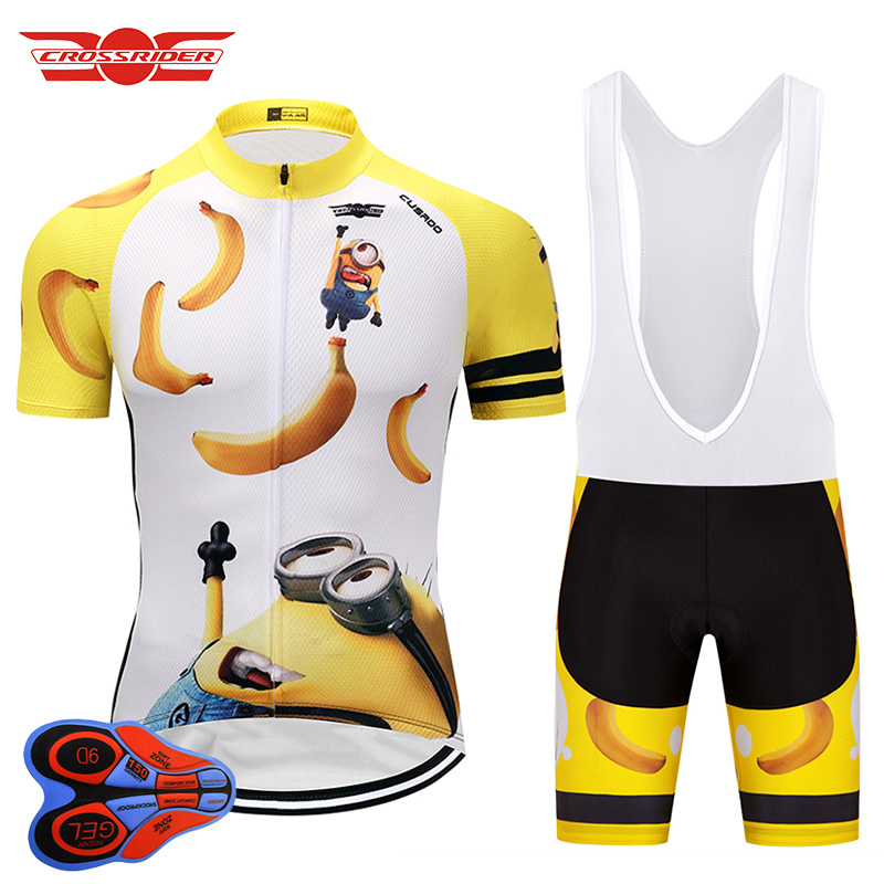 Crossrider 2019 Men's Funny Cycling Jersey Set Mtb bicycle clothing bike wear clothes Breathable Bib Shorts Maillot Culotte suit