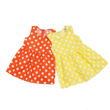 2017 Summer Child Girl Flax Dress Casual Breathable Wave Girl Cotton Dress Lovely Kid Dot Sleeveless O-neck Dress Clothing
