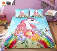3D Flowers rainbow Unicorn Bedding Set Pillowcas Cartoon Bed Duvet Cover for Kids 3pcs Colorful Bedclothes Quilt CoverSj231