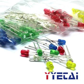 YongYeTai 3mm rurka LED czerwony zielony żółty niebieski biały 20 każda dioda całkowita opakowania 100 pakiet darmowa wysyłka tanie i dobre opinie Piłka standard