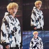 Kpop BTS V Spring autumn warm Black white long sleeves women hoodies korean cotton Harajuku hooded sweatshirts women clothes