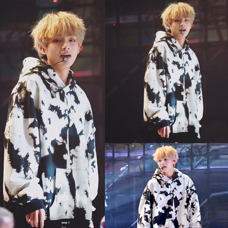 Kpop BTS V same Black white Splash ink Print women hoodies korea lovers Spring autumn warm Harajuku hooded sweatshirts clothes