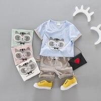 korean 1-3T kids boy short sleeve t shirt short pants 2pcs glasses cartoon cat pattern tees 3D cat ears short young children set