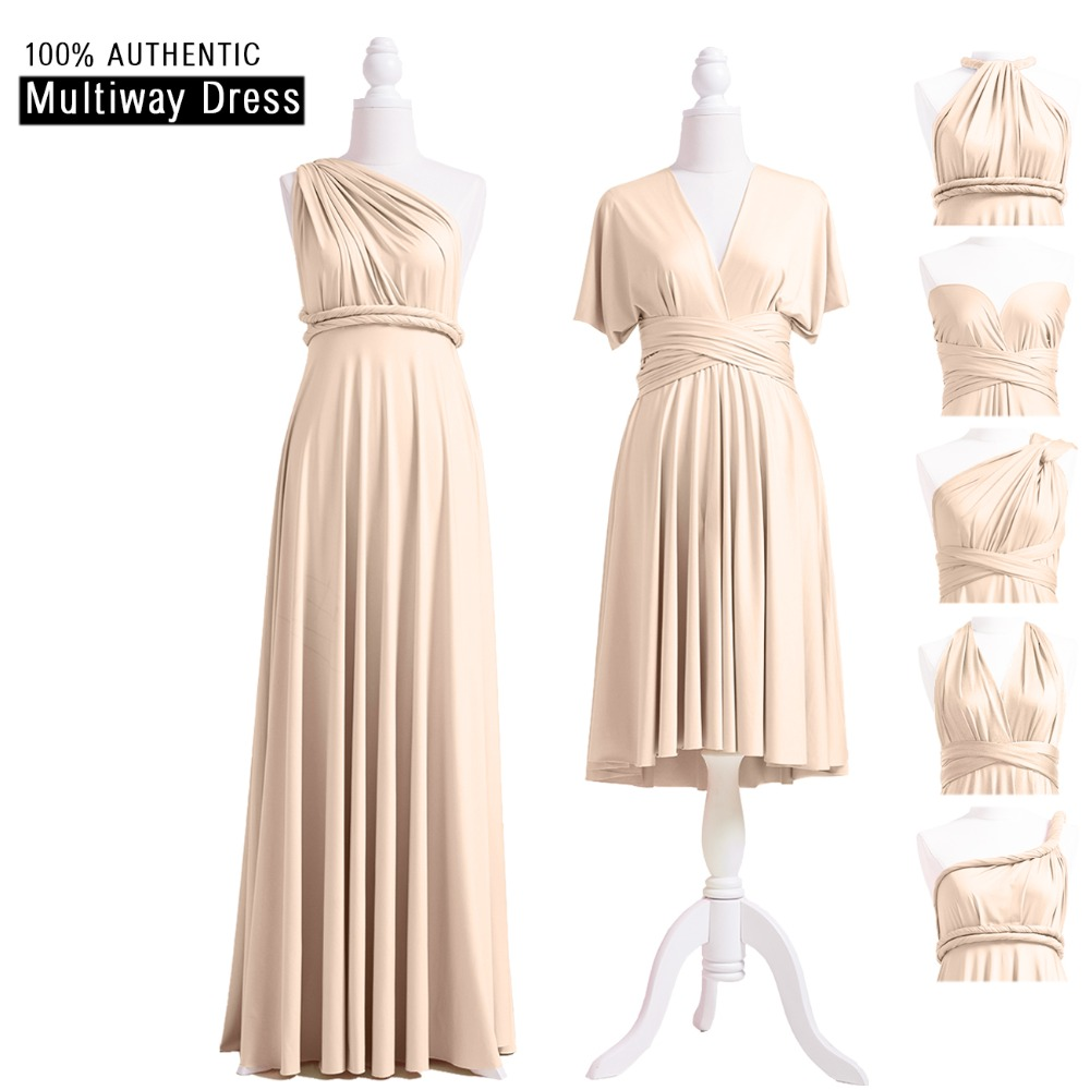 Champagne   Bridesmaid     Dress   Multiway Long   Dress   Infinity Maxi   Dress   Champagne Convertible Wrap   Dress   With One Shoulder Styles