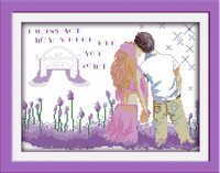 Joy Sunday Figure Style Lavender Lovers Modern Cross Stitch Patterns Kits For Embroidery With Cotoon Floss