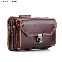 CHEZVOUS Phone Pouch Belt Bag Leather Retro Waist Bag 2 Pouch Design for iPhone 7 8 6 plus X Universal 6.0 inch for Samsung S8